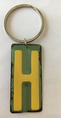 Keychain - Letter  - H - Yellow & Green- Vintage Metal License Plate Look- NEW