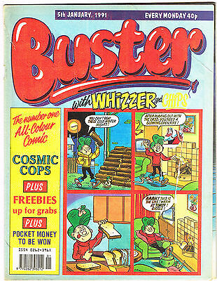 Buster & whizzer & Chips Comic 5th January 1991 NO MISSING PAGES - Chalky Toyboy