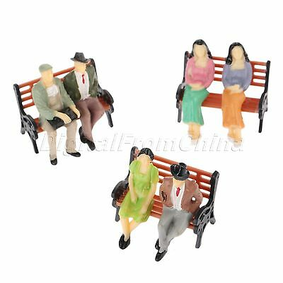 10x Sitting Poses Figures Model Building Layout 1:30 Scale Multicolor Painted