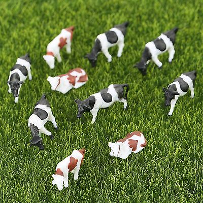 10 x Colored Painted Model Cattle Cow Farm Yard Miniatures Kid Toys Scale 1:87