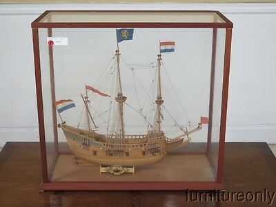 F28780: Half Moon Tall Ship Model In Glass Enclosed Case