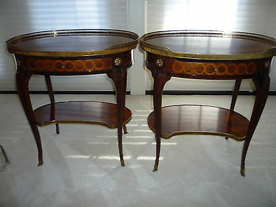 Pair of Ornate Antique Louis XV  Oval Nightstand Tables