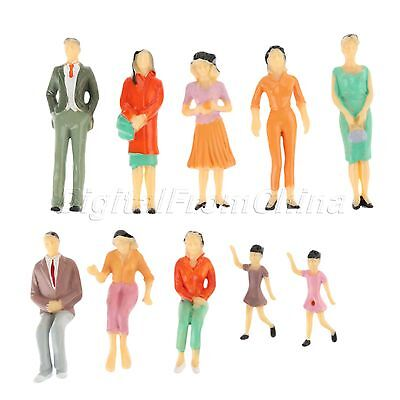 10pc Colorful Pose Assorted Model People Figures Train Scenery Layout Scale 1:25