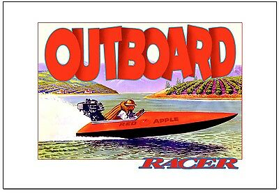 """OUTBOARD RACER 13""""x19"""" Giclee / Poster Art Print / on heavy weight art paper!"""