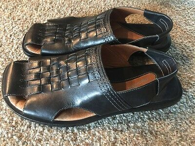 BACCO BUCCI Mens Leather Black Sandals Size 11 New
