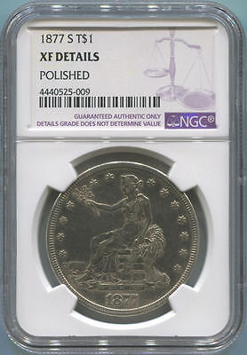 1877 S Trade Silver Dollar, T$1. NGC XF Details