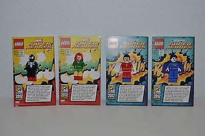 4 Exclusive Lego Sdcc 2012 Minifigures Bizarro Shazam Phoenix Black Spiderman