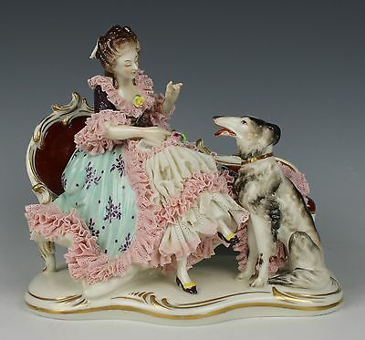 "Dresden Volkstedt figurine ""Sitting Lady with Borzoi"" WorldWide"