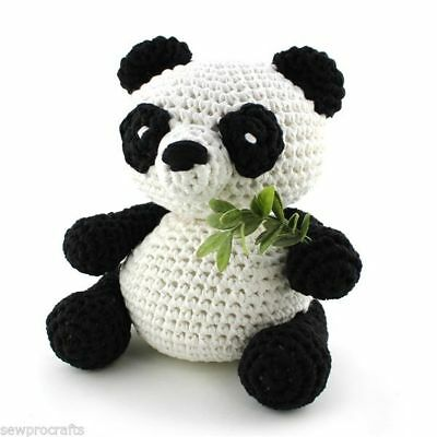 Hoooked DIY Crochet Kit Panda Bear Yin Amigurumi Eco Barbante Recycled Toy Gift