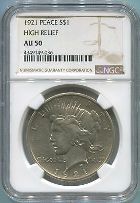 1921 Silver Peace Dollar, High Relief. NGC AU50
