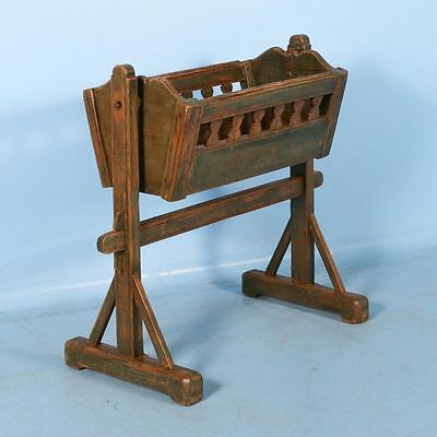 Antique 19th Century Pine Cradle with Original Green Paint, Dated 1893