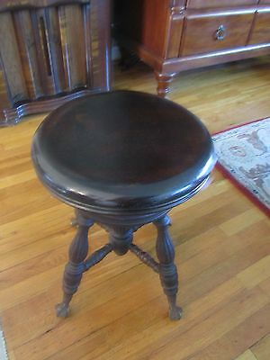 Antique Victorian Glass Ball Claw Foot Wood Adjustable Swivel Piano Stool