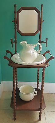 Vintage Wash Stand With Pitcher, Basin, Chamber Pot, mirror and candle holders.