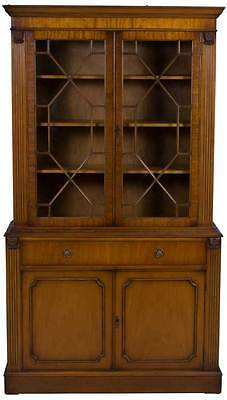 Antique Style English Mahogany Two Door Bookcase Bookshelf Cabinet Glass Doors
