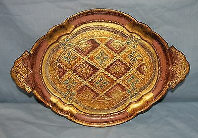 Vintage Gold Florentine Italy Toleware Oval Tray