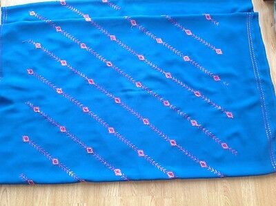 Blue and pink sequinned indian bollywood sari excellent condition