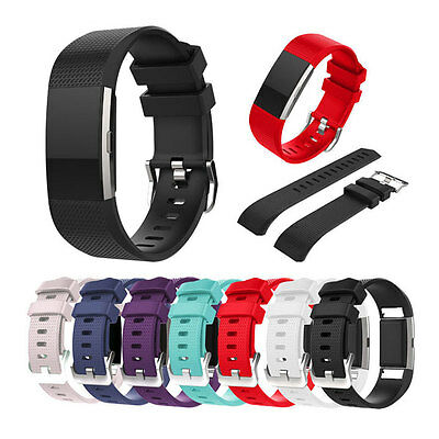 For Fitbit Charge2 Replacement Wrist Band Silicon Strap Bracelet+Buckle Size S/L