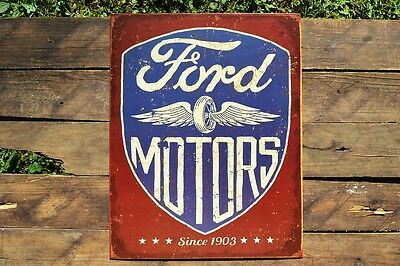 Ford Motors Tin Metal Sign - Dealer - Trucks - Motor Co. - Vintage Wheel Logo