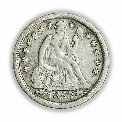 1853 Seated Liberty Dime w/ Arrows, Small Silver Coin [3127.94]