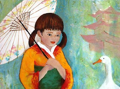 Lorraine Trester Enamel on Copper Signed & Framed 5X7 Asian Girl with Geese