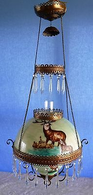 Antique Victorian Hand Painted Elk Hanging Parlor Chandelier Oil Lamp Prisms