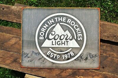 Coors Light Tin Metal Sign - Est. 1978 Born in the Rockies - Silver Bullet Beer