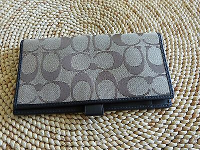 Coach Checkbook Cover   Khaki / Brown Jacquard with Brown Leather trim