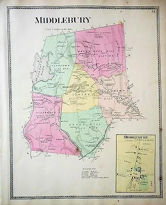 Antique Original 1868 Colored Map of MIDDLEBURY Connecticut CT Beers Atlas