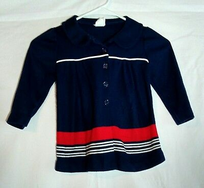 Vintage Bull Frog Knits Girls 2T Sweater Red White Blue Made USA Very Rare
