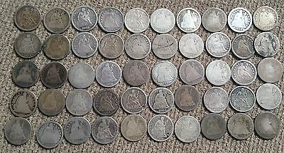 50 low grade Seated Liberty Dimes - Lot 2