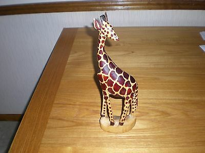 "AFRICAN GIRAFFE STATUE HAND CARVED  12"" x 4"""