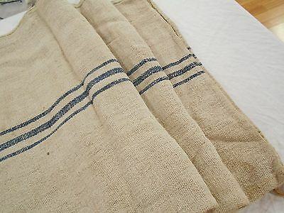 45x24 Vtg Antique INDIGO BLUE STRIPE Heavy HEMP LINEN Nubby FEEDSACK GRAIN BAG