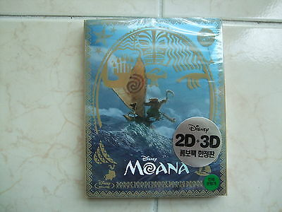 Moana (2017, Blu-ray) 2D+3D Combo Steelbook w/ PET Slip, Craft Sticker