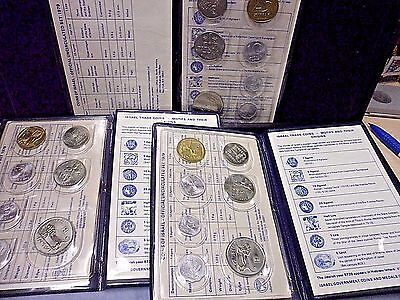 3 Sets 1979 Coins of Israel Official Uncirculated Sets COA/Folders World Foreign