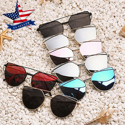 Women's Flat Lens Mirrored Metal Frame Glasses Oversized Cat Eye Sunglasses GUK