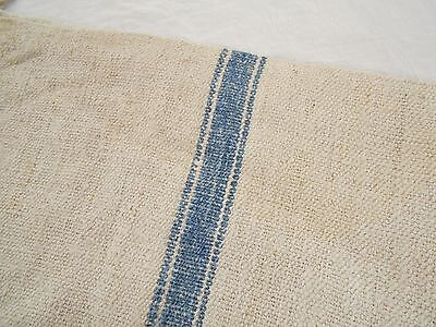 47x22 Vtg Antique INDIGO BLUE STRIPE European HEMP LINEN FEED SACK GRAIN BAG