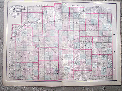 1871 Asher & Adams Indiana County Map Cass Miami Wabash Huntington Wells