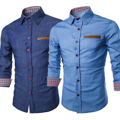 Luxury Mens Casual Stylish Slim Fit Long Sleeve Casual Formal Dress Shirt Tops