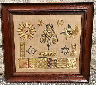 Rare Religious Needlework Embroidery Exemplar, Later 19th Century, Gold Silver