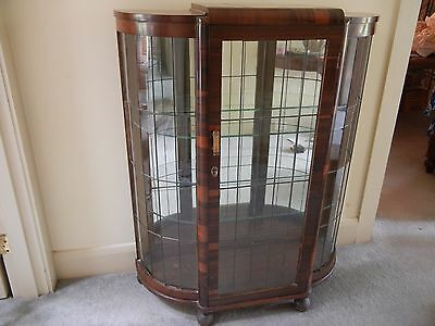 Vintage Art Deco Lead Light Half-Round Crystal Cabinet