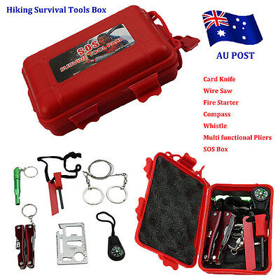 Self Help Outdoor Sport Camping Hiking Survival Emergency Gear Tools Box Kit EA