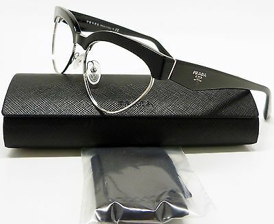 Trendy Prada Vpr 05Q 1Ab-101 Eyeglasses Frame Shiny Black/silver Cat Eye X9/5