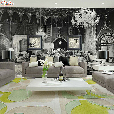 Black White Retro Palace Wallpaper Luxury Wall Paper Mural 3d Background Sticker