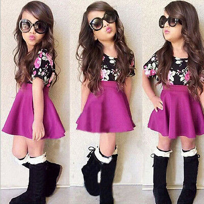 2PCS Toddler Kids Baby Girl Floral Dresses Outfits Tops T-Shirt+Skirt Clothes US