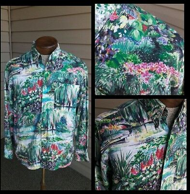 Vintage 80's Bernhard Monet Like Long-Sleeve Button-Front Mens Medium Shirt