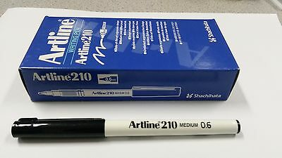 12 x Artline 210 BLACK 0.6mm Medium Fine Line Pens