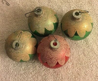 Lot Of 4 Vintage  Mercury Glass Christmas Ornament Snow Capped Made In USA