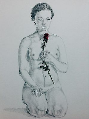 Girl with a rose Art Drawing, A4 Nude Female Red Rose Flower Pencil Pastel
