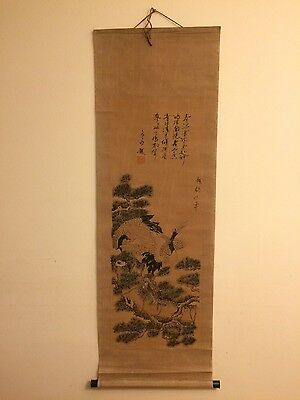 Beautiful Original Antique Chinese Scroll Painting Showing Birds and Trees