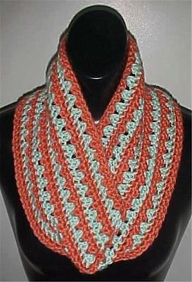 Hand Crochet Infinity Circle Scarf/Neckwarmer #130 Salmon/Mint Green NEW